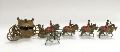 Britains - from set 1477 - Coronation Display set - comprising gilt state coach with King and Queen,