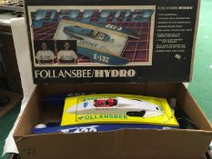 Follansbee/Hydro radio control racing boat with instructions and box.