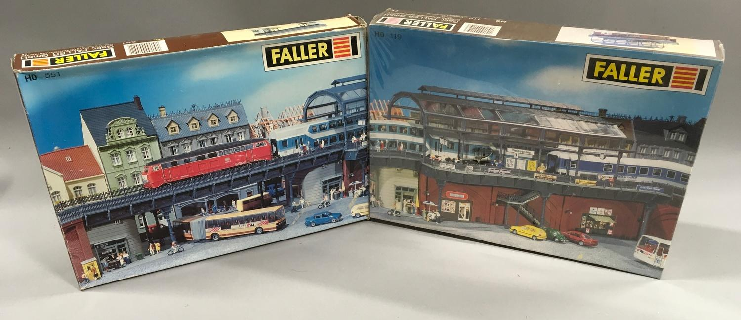 2 Faller HO building kit sets: 119 S-Bahn Metro Railway set and 551 S-Bahn Railway Bridge Kit. One