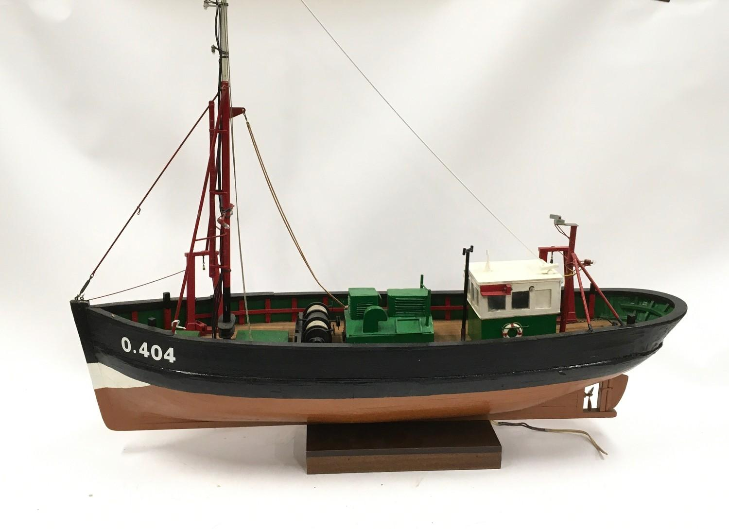 Wooden model of a boat.