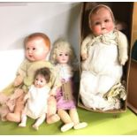 Four German bisque dolls - Schoenau Hoffmeister, Armand Marseille and two others.