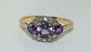 18ct gold ladies amethyst and diamond ring size M