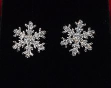 Pair silver and CZ snowflake earrings