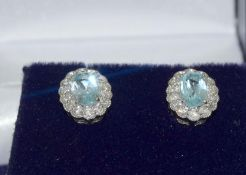 Pair 18ct white gold Aquamarine and Diamond cluster earrings
