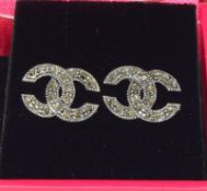 Silver and Marcasite earrings in the Chanel style