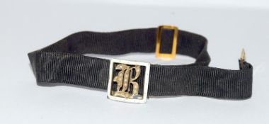 Victorian mourning bracelet with 9ct gold and enamel mounts