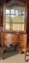 Cabriole leg 2 draw display case with a glass fitted top over 2 draws and brass handles 190x90x45cm