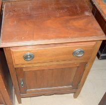 Mahogany single draw cupboard with brass ring handles75x55x45cm