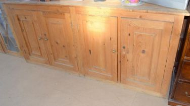 Superb 2 part pine 4 door dresser with glassed upper over 4 cupboard lower part 235x210x45cm when