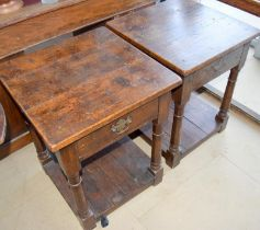 Good pair of oak single draw lamp tables with fitted under tray 65x50x50cm