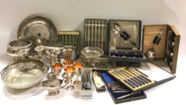 A Quantity of mixed silver plate.