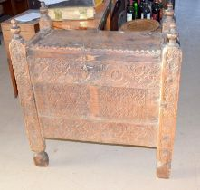 Ornately carved silver or travelling trunk of possible middle eastern origin 90x80x45cm
