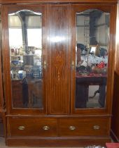 Edwardian inlaid two door two draw wardrobe with double mirrored doors 210x150x50cm