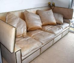 Knowle leather sofa with drop down sides and cushion supports ,260x100x90cm closed
