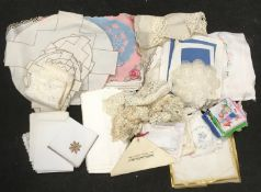 Collection of Victorian and other lace table linen, hankies and misc doilies needs laundering