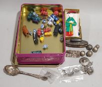 Box of Chinese and other curios to include silver/white metal jewellery, bar rings, beads, silk