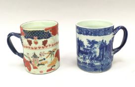 Pair large drinking mugs one Chinese the other blue and white 15cm tall
