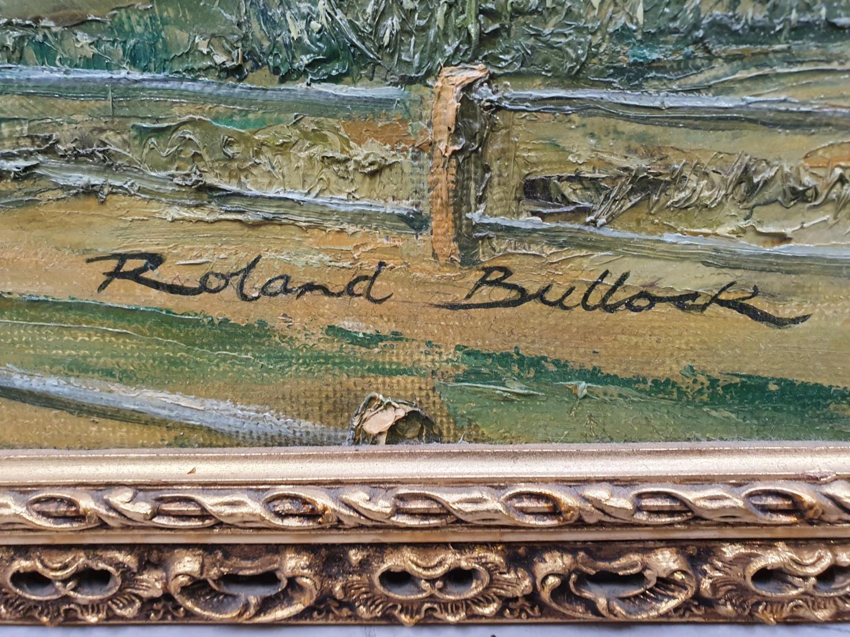 Gilt framed oil on board of local Wareham scene signed Roland Bullock 78x43cm. - Image 2 of 4