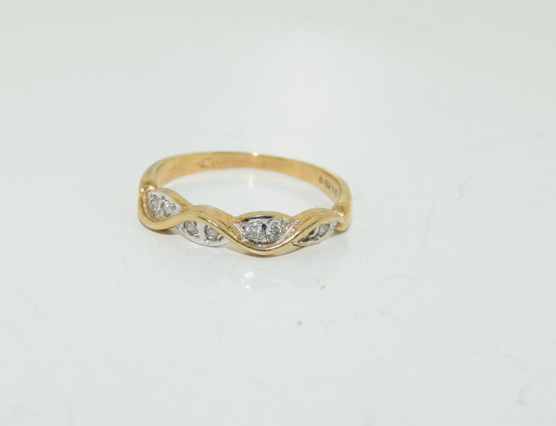 9ct gold half eternity ring. Size K