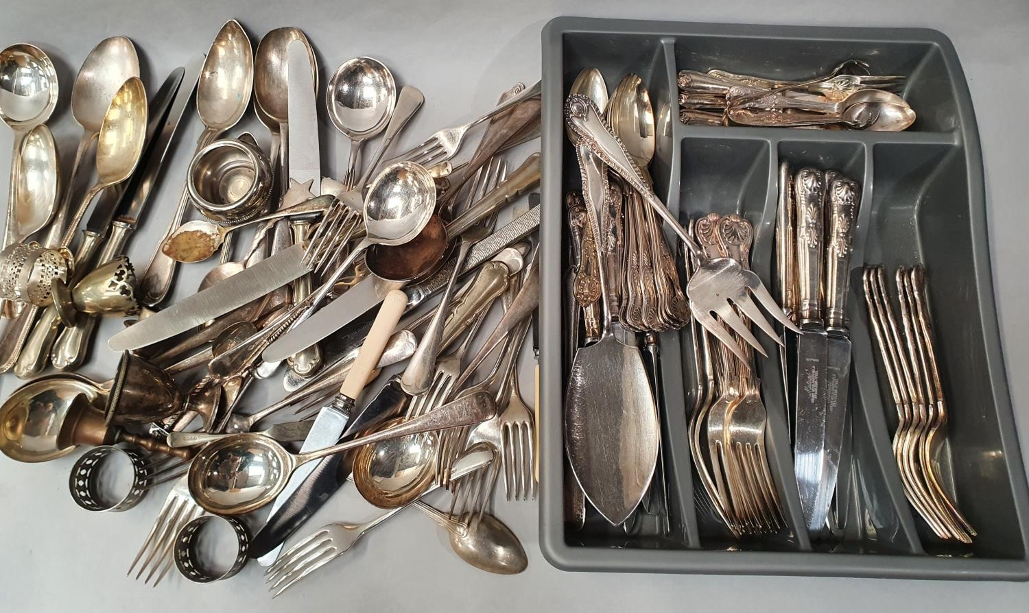 Collection of silver plated flatware.
