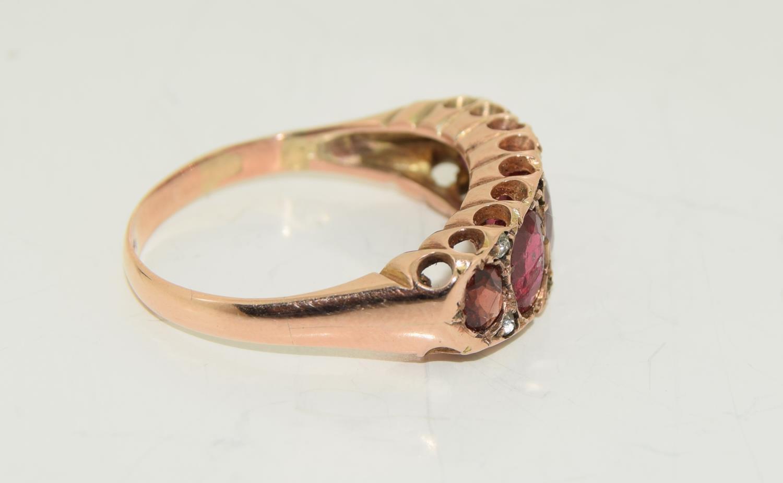 Antique garnet 9ct rose gold ring circa 1902, Size Q - Image 2 of 6