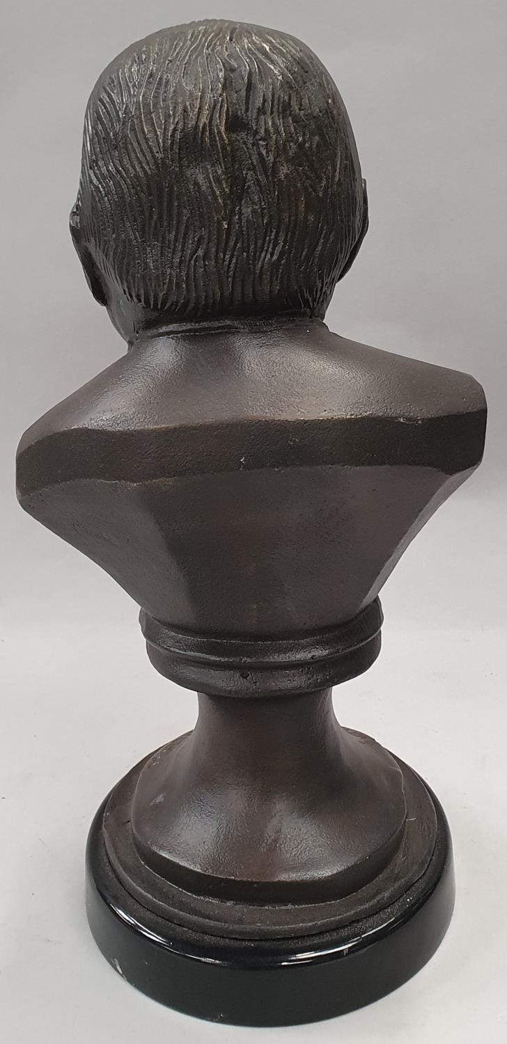 A cast metal bust of Winston Churchill on metal base 33cm tall. - Image 3 of 6