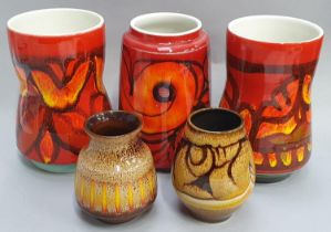 A collection of five Poole Pottery Aegean and Delphis vases.