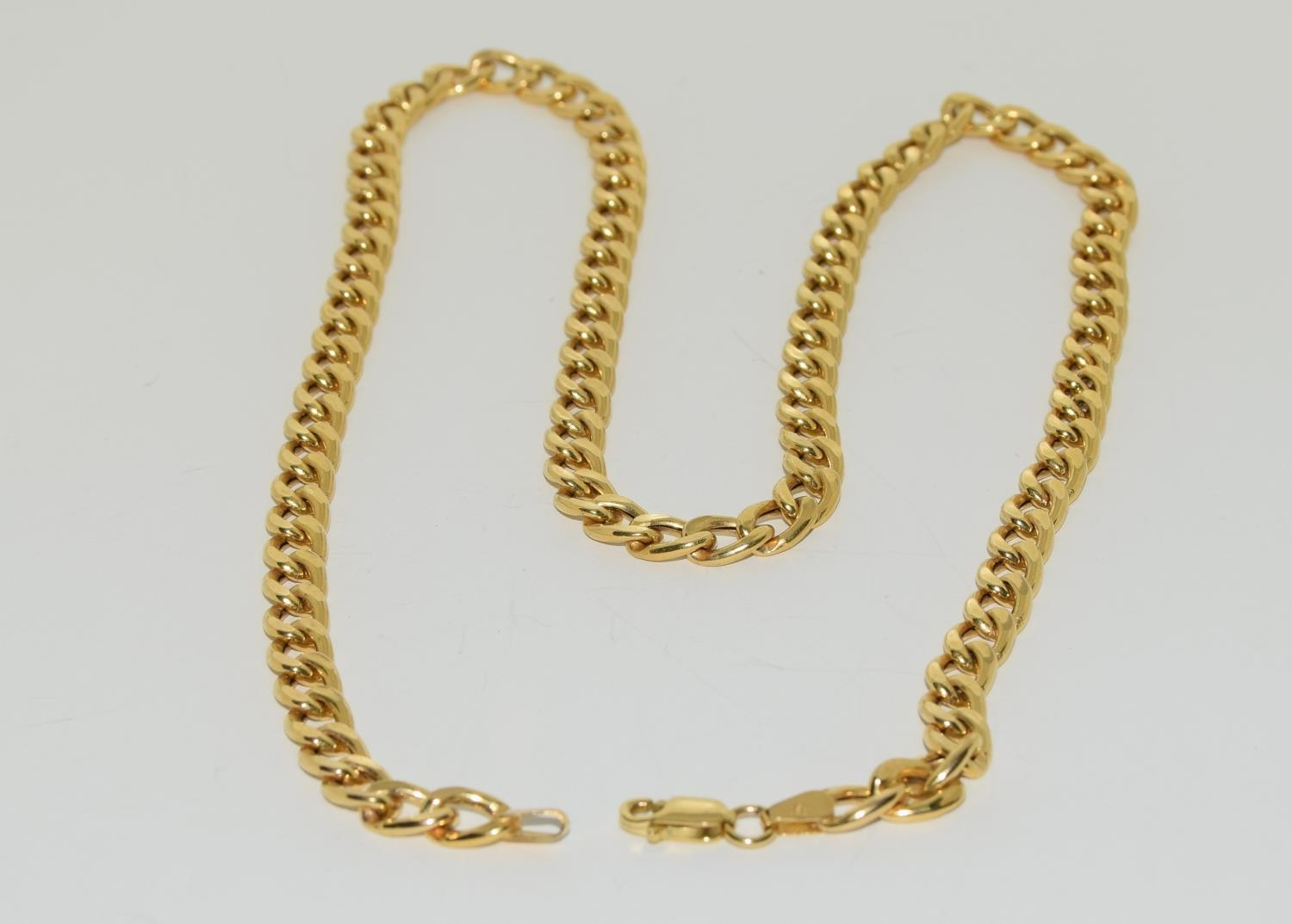 9ct gold flat link necklace 50cm long 11.5gm - Image 2 of 4