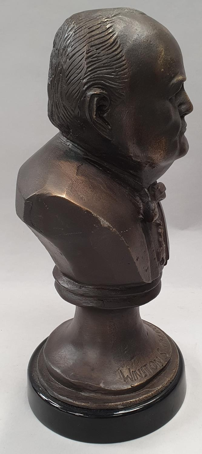 A cast metal bust of Winston Churchill on metal base 33cm tall. - Image 5 of 6