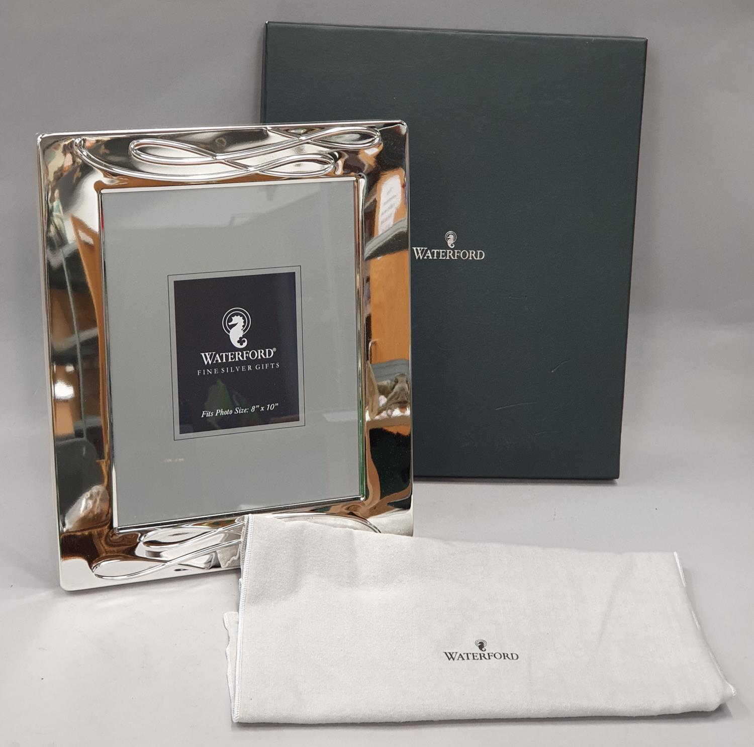 """Waterford Ballet Ribbon 8x10"""" silver plated picture frame with fabric pouch and box."""