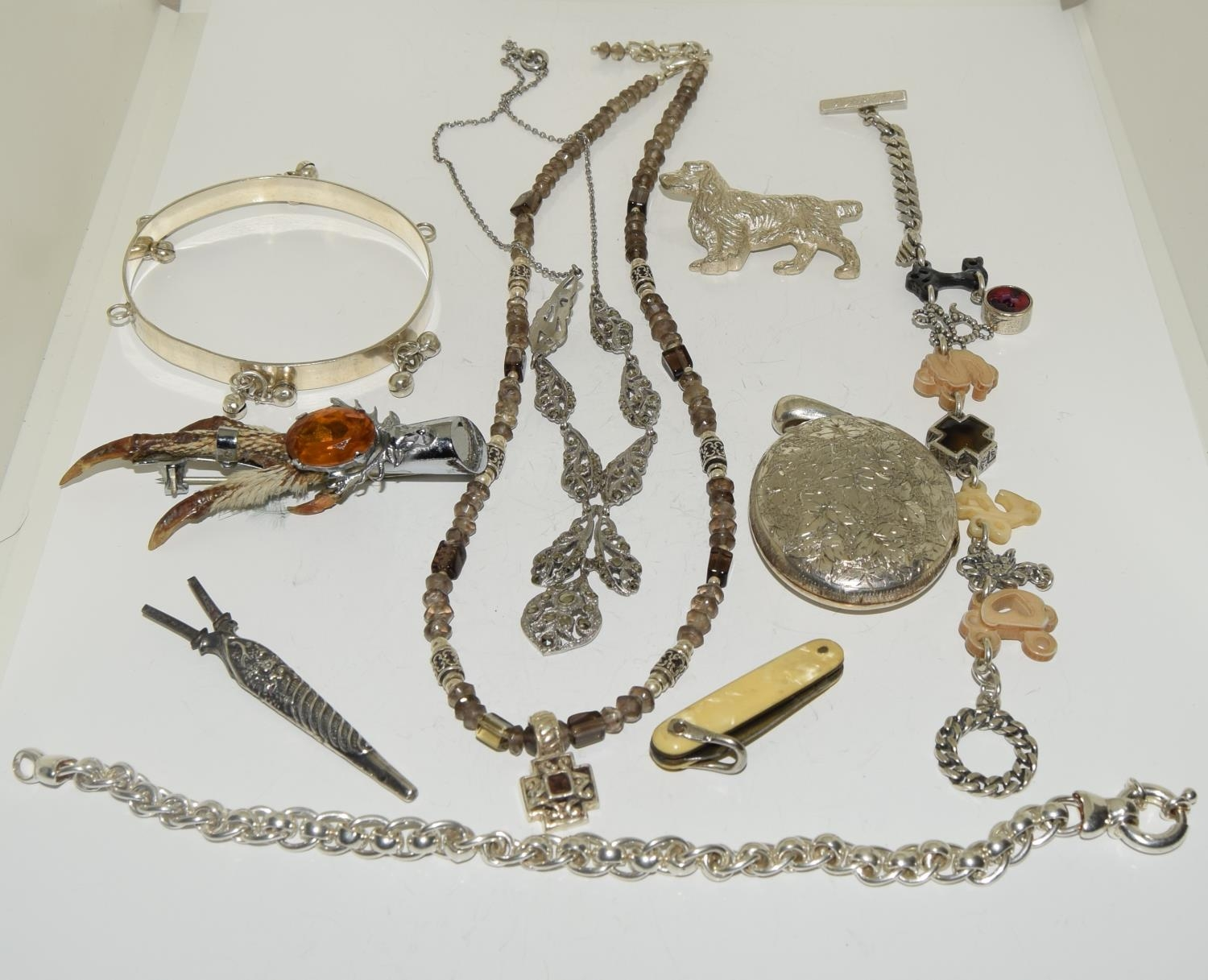 Interesting qty of silver and other jewellery to include a bracelet ,necklace , locket amber set - Image 2 of 6