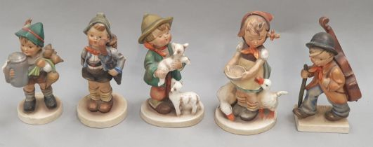 Five assorted M.J. Hummel Goebel figurines. All signed to the bases.