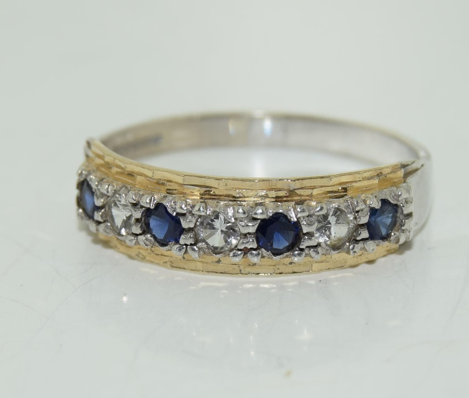Antique Sapphire 9ct and silver eternity ring, Size M.