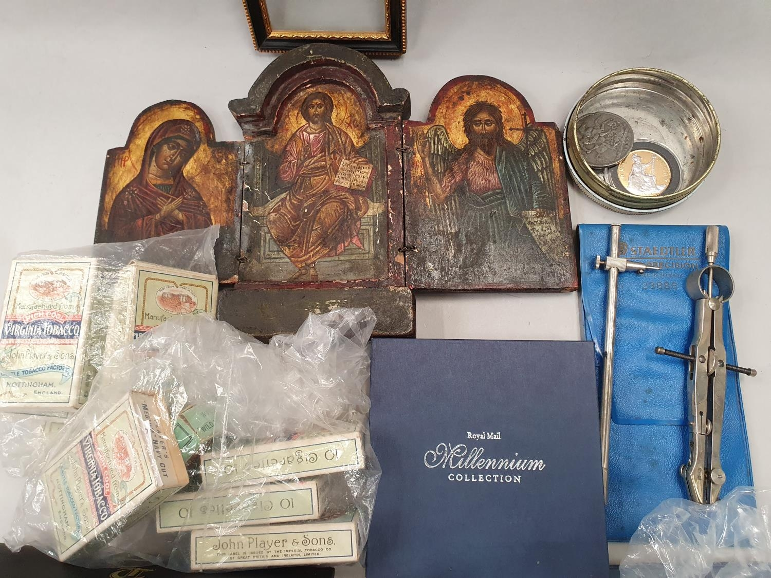 A 3 fold Icon, a Bulkam Sobrane Tobaco tin, various sets of Players cigarette cards and two seals. - Image 2 of 4