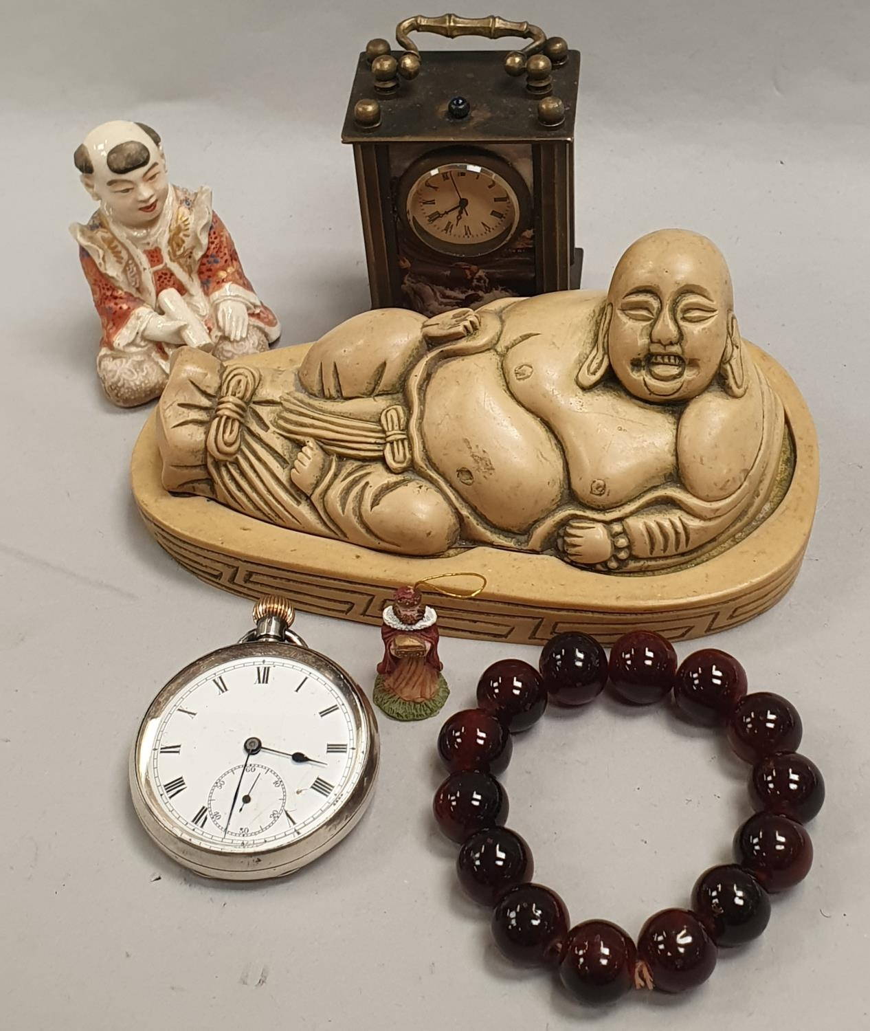 Miscellaneous curios to include pocket watch.