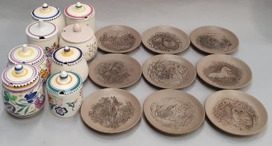 """Poole Pottery set of 12 5"""" Barbara Linley Adams stoneware animal plates together with eight"""