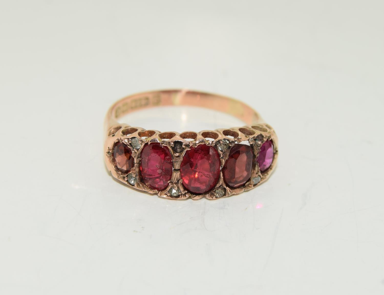 Antique garnet 9ct rose gold ring circa 1902, Size Q - Image 6 of 6