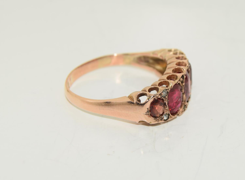 Antique garnet 9ct rose gold ring circa 1902, Size Q - Image 5 of 6