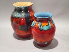 Poole pottery large Gemstone 25cms classic vase together with one other living glaze vase 20cms (2)