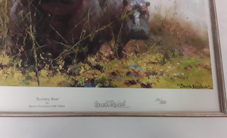 "David Shepherd ""Sunday Best"" embossed stamp Limited Edition 191/650 with COA, framed & glazed - Image 2 of 4"