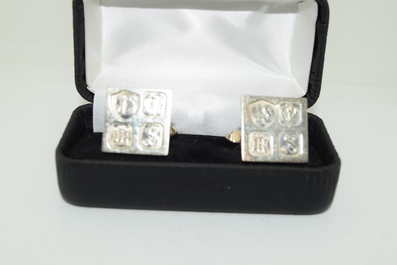 Pair gents silver ingot cufflinks