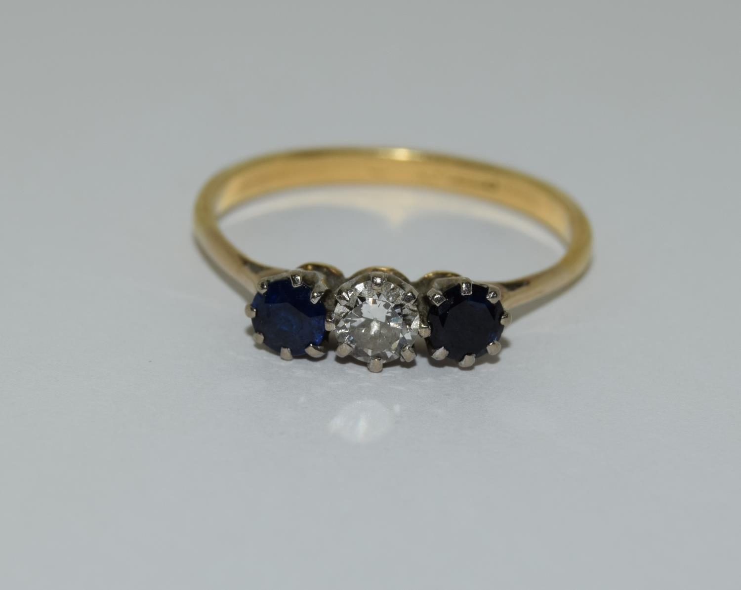 Art Deco Sapphire and Diamond 0.65ct approx, three stone trilogy ring, 2.5grams Size Q. - Image 6 of 6