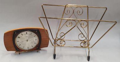 1950s small magazine rack together a 1950s Metamec mantle clock