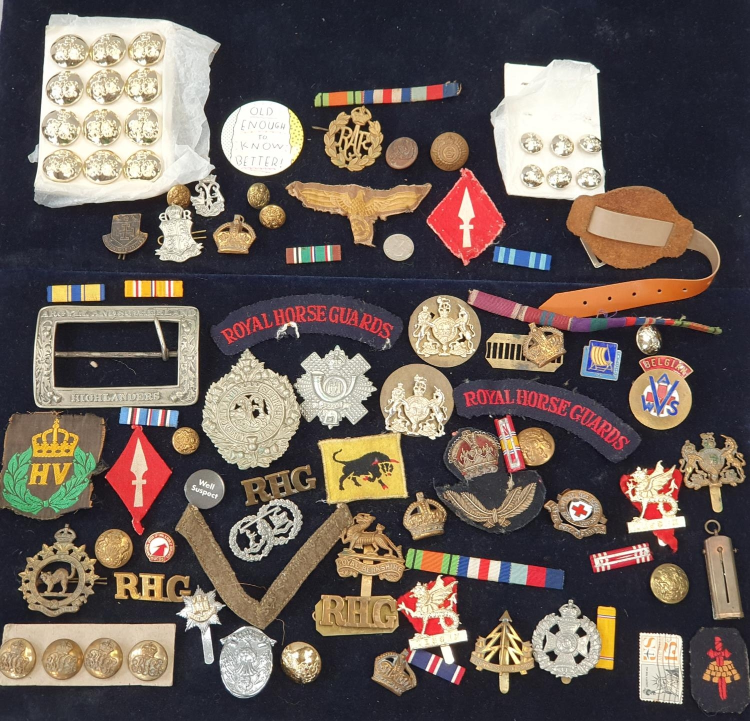 A collection of military pin badges, fabric badges, buttons etc.
