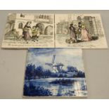 Handpainted Continental large tile depicting a river scene, signed to front together with blue and