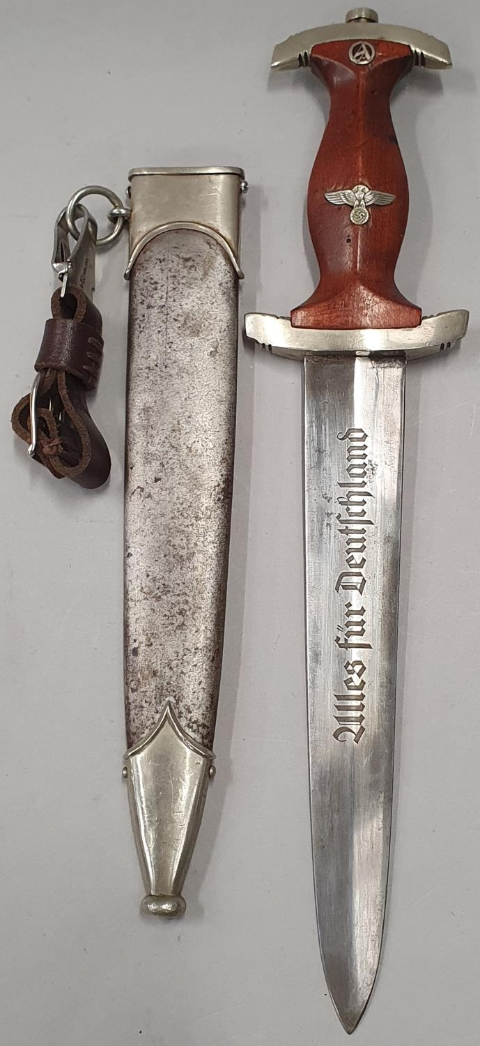 Nazi Third Reich wood handle dagger with emblem and engraving to blade