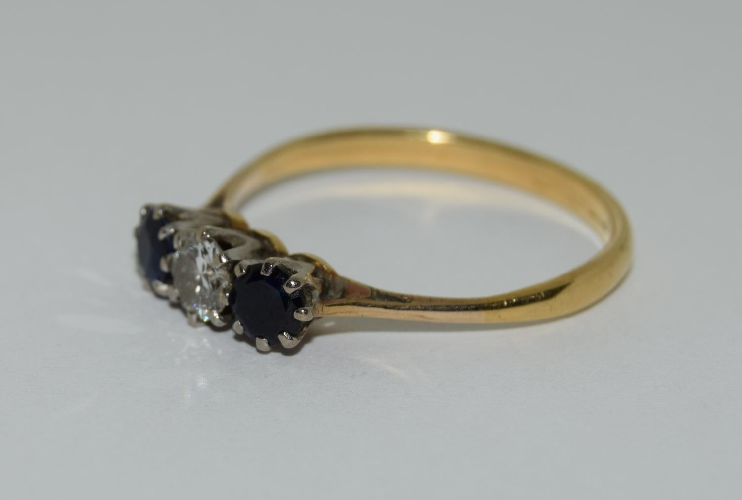Art Deco Sapphire and Diamond 0.65ct approx, three stone trilogy ring, 2.5grams Size Q. - Image 4 of 6