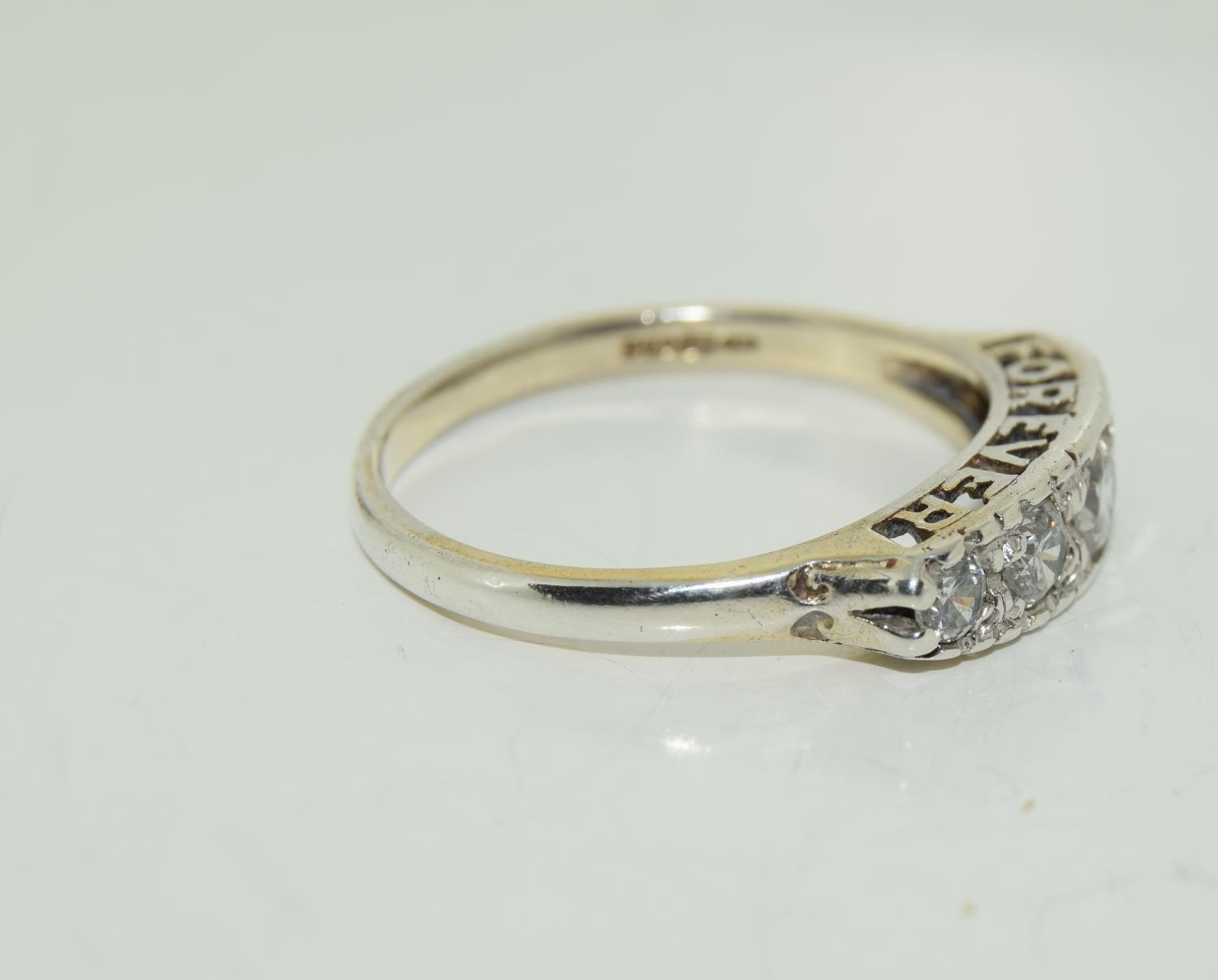 Large 'Always Forever' CZ 925 silver ring, Size W. - Image 2 of 4