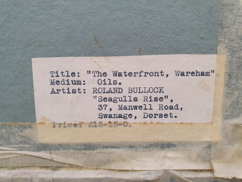 Gilt framed oil on board of local Wareham scene signed Roland Bullock 78x43cm. - Image 4 of 4