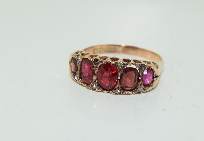 Antique garnet 9ct rose gold ring circa 1902, Size Q